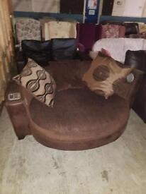 Brown multimedia 2 seater cuddle chair in very good condition