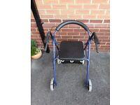 4 Wheel Aluminium Rollator Disability Mobility Walking Aid