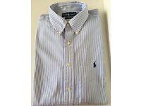 ORIGINAL Ralph Lauren men's shirt. Size 16.5. Unworn. White with sky blue stripes.