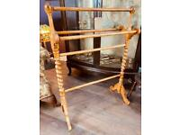Lovely condition vintage clothes rail with barley twist ends