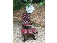 Chesterfield slipper chair. Footstool available. Can deliver