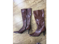 Dune Brown Leather Knee High Boots