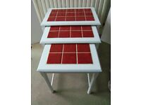 White nest of tables red tile surface top - Excellent condition