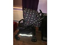 Mamas And Papas pram, car seat and extras limited edition heritage spot desin In excellent condition