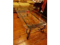 GLASS COFFEE TABLE AND MATCHING SIDE TABLE
