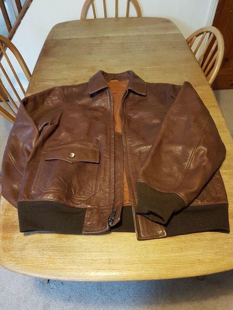 Men's Orvis brown leather bomber jacket
