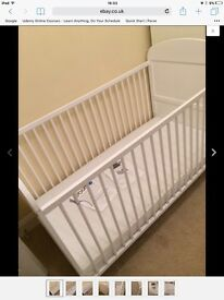 White cot bed with mattress. 3 adjustable height