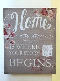 Wall hanging canvas art Home is where your story begins