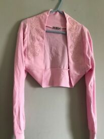 Baby pink shrug with beading