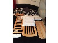 Gliding crib with bedding and mattress £25