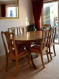 Pine table & six chairs
