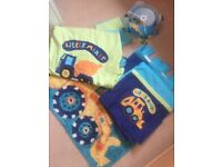 Next boys Little Digger bedding curtains, Rug and light shade