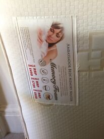 Leather Fuax bed and memory foam mattress brand new