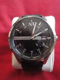 Gents Armani Exchange ax2101 watch with black leather strap