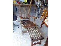 Hardwood steam lounger chair and 4 hardwood garden folding chairs