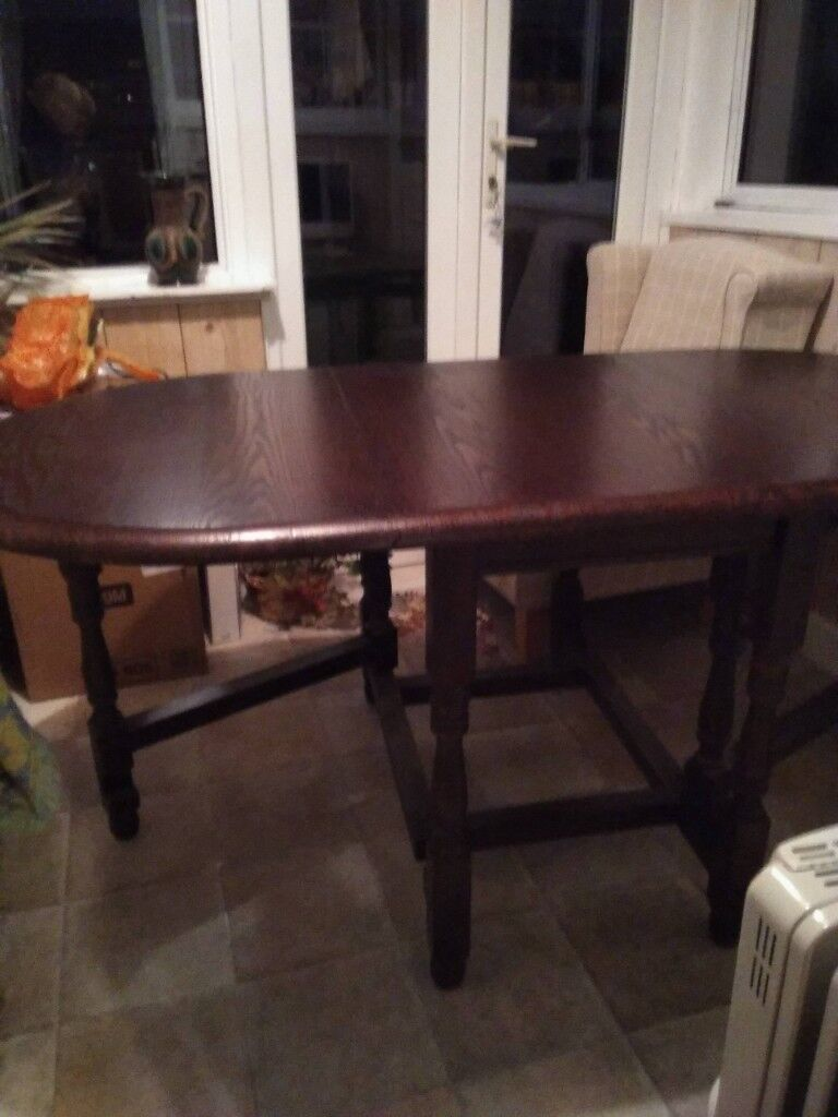 Oak Drop Leaf Table 90cm By 180cm And 4 Wheel Back Dining Room Chairs East London