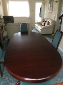 Dining table, wall unit & 4 chairs