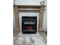 Wood fireplace surround , marble hearth and marble effect back slip