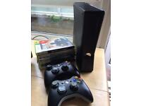 XBOX 360, 2 controllers, 6 games, + mad catz driving weel