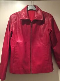 Real Italian Leather jacket, size 42, Red - £70