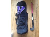 Hockey bundle: Mercian bag, Slazenger stick, shin guards