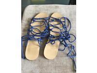 Ladies Blue Gladiator Sandals - size 6UK