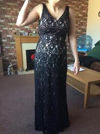 Black lace prom dress with clutch bag