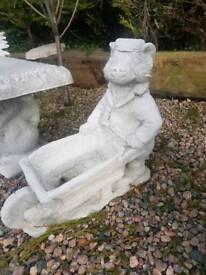 Concrete Badger and Cart Planter Garden