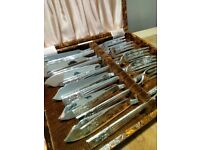 silver plate fish cutlery set in box