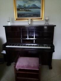 Upright piano & piano stool for sale