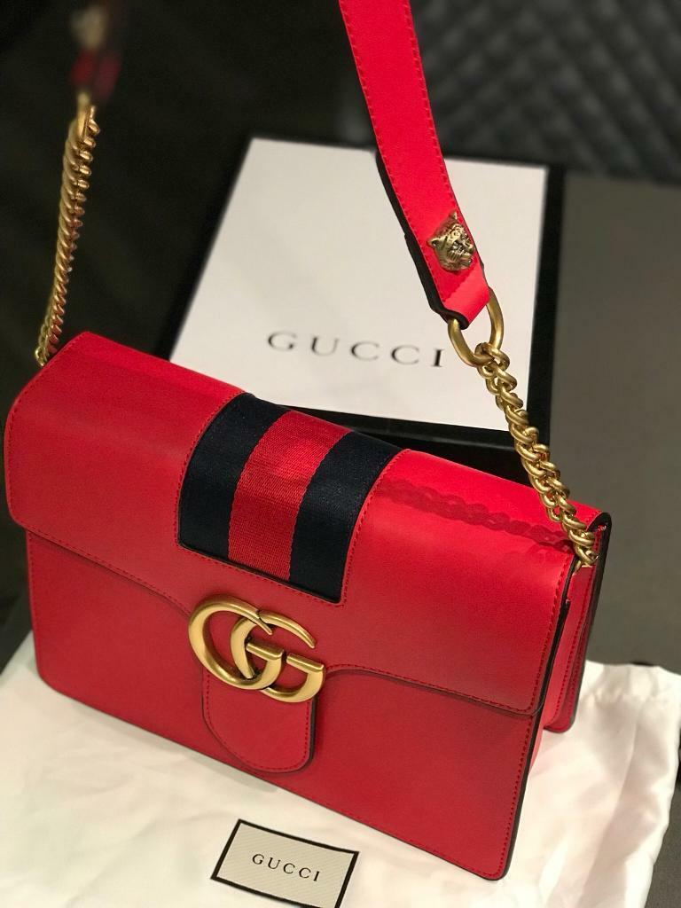 eef89b0ee47d Red GG Gucci leather bag comes with dust bag and box | in ...