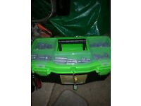 BRAND NEW TOOL BOX, FILLED WITH DIFFERENT HAND TOOLS, SOME TOOLS ARE USED BUT GREAT CONDITION