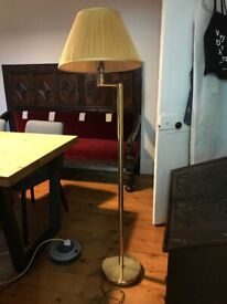 Brass based standard lamp with shade