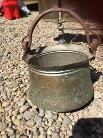 Antique copper and brass pot