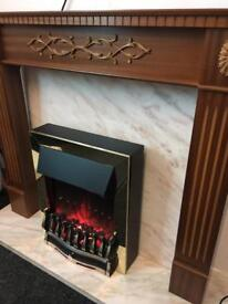 Fire surround and marble and electric fire can deliver