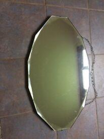 Vintage Art Deco bevel edge mirror in original condition.