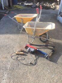 Hoist, Hoist wheelbarrow, Plastering trowels