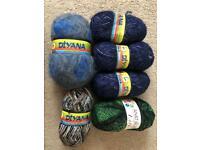 600 grams fancy yarn knitting, crochet - mohair, boucle, multi strand. 600 grams