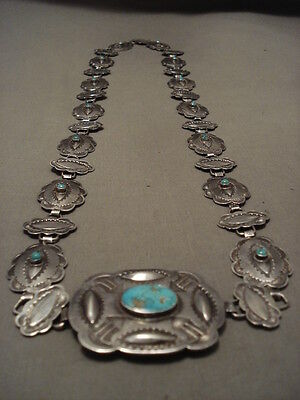 EARLY 1900'S VINTAGE NAVAJO HAND TOOLED TURQUOISE NECKLACE/ CONCHO BELT