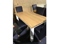 New OAK top table and four new black leather chairs