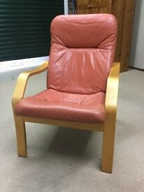 Unusual Terracotta Leather Chair with a birch / beech Frame