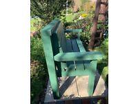 New handmade green 2 seater garden bench