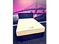 ★★ 4FT6 Black Crushed Velvet Divan Bed w/ Matching Headboard & 1500 Pocket Core Mattress★★