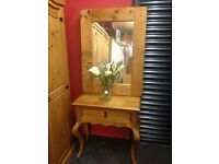 solid pine console table and mirror