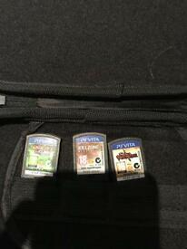 PS vita case and travel pack with 3 games