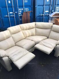 Leather recliner corner sofa / settee