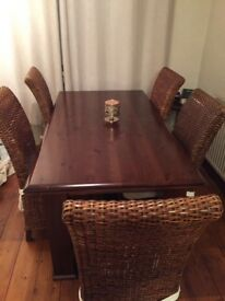 ****Solid Dark Wood Dining Table 6 Chairs ****