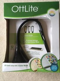 Ottlite LED Desk Craft Lamp 3 Colour Brightness Settings USB Charge Port White