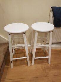 Brand new white wooden stools