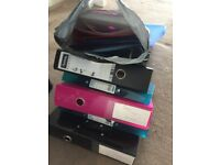 Big ring binders X 4 Small ring binders x 6 and varoius folders